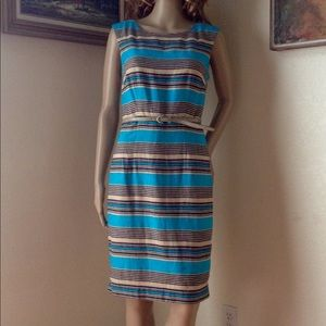 The Limited Linen Cotton Lined stripe dress